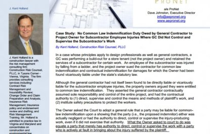 Case Study: No Common Law Indemnification Duty Owed by General Contractor