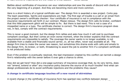 Calling a Ceasefire in the Certificate of Insurance Wars