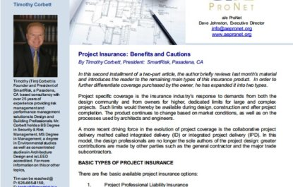 Project Insurance: Benefits and Cautions – Part 2 of 2