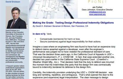 Making the Grade: Testing Design Professional Indemnity Obligations