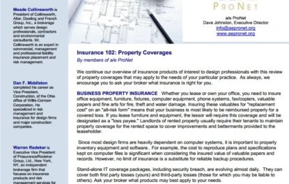 Insurance 102: Property Coverages for Architects & Engineers
