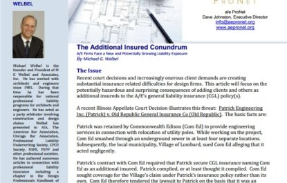 The Additional Insured Conundrum: A/E Firms Face a New and Potentially Growing Liability Exposure