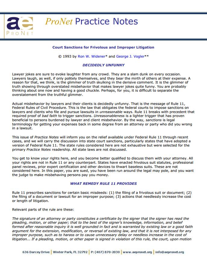 Court Sanctions for Frivolous and Improper Litigation (Vol. 6, No. 2, October 1993)