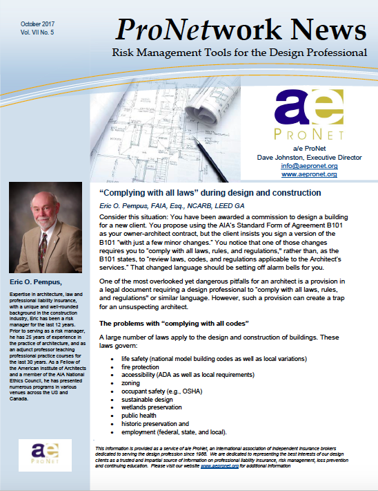 """Complying With All Laws"" During Design and Construction"